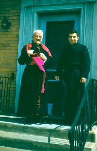 Msgr Kubelbeck and Fr Theiler at the rectory door 1957.